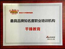 年度最具品牌知名度培訓機構